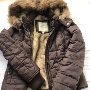 Abercrombie and Fitch Fur Lined Puffer Coat